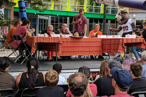 Contestants compete in the annual chile pepper-eating contest.