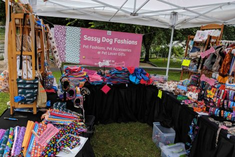 The booth for Sassy Dog Fashions at the Riverside Festival of the Arts in Easton.
