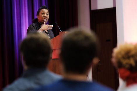 Me Too movement founder Tarana Burke speaks to a packed Colton Chapel audience.