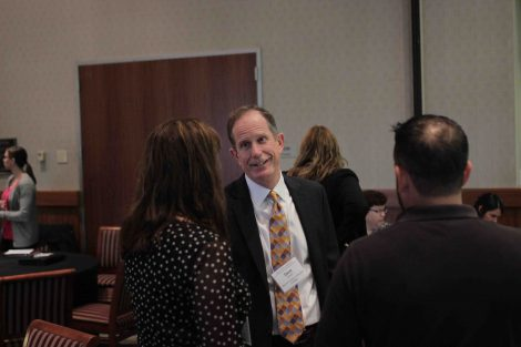 David Woglom chats with attendees at the annual Meyner Center Annual Forum on Local Government.