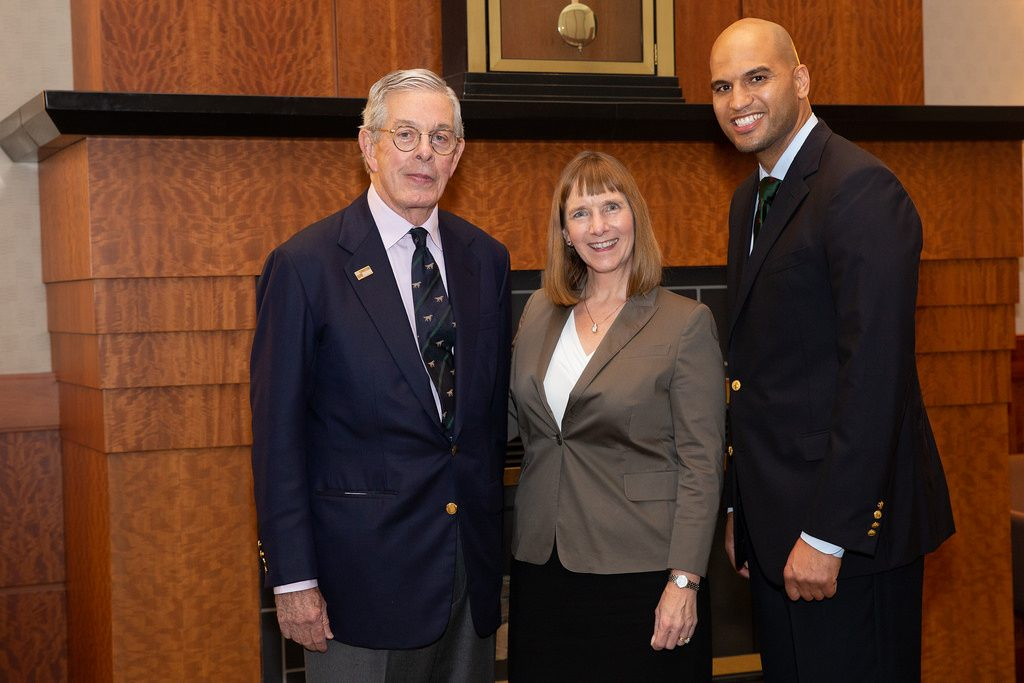 Bradbury Dyer III '64, Lafayette President Alison Byerly, and Dyer Center Director Yusuf Dahl