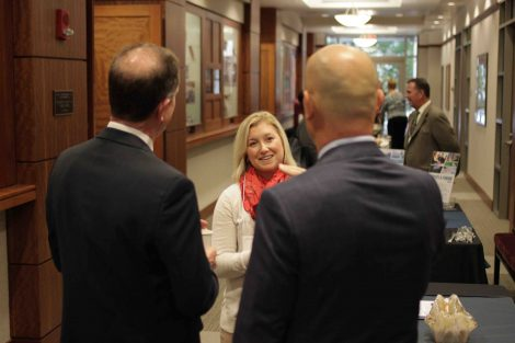 People talk between sessions at the annual Meyner Center Annual Forum on Local Government.