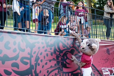 The Leopard mascot shakes a child's hand at the football game during Family Weekend.