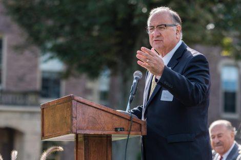 Easton Mayor Sal Panto Jr. talks at Landis Day.