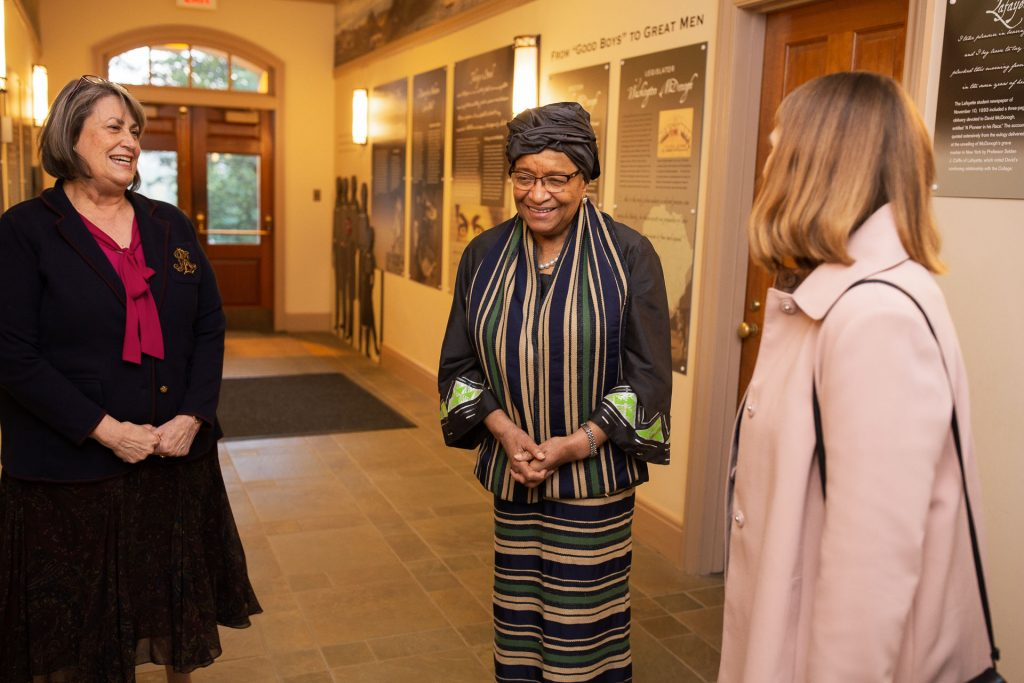 College Archivist Diane Shaw, former Liberia President Ellen Johnson Sirleaf, and Lafayette President Alison Byerly