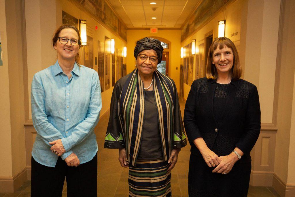 International Affairs program head Angelika von Wahl, former Liberian president Ellen Johnson Sirleaf, and Lafayette President Alison Byerly