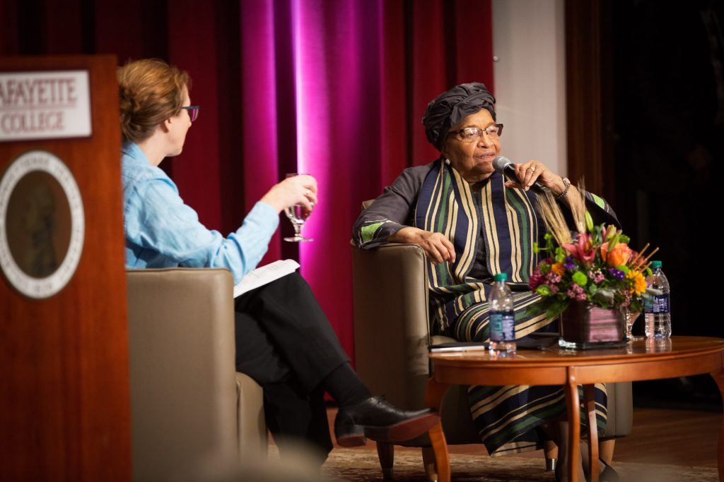 Ellen Sirleaf answers questions in Colton Chapel after her lecture.