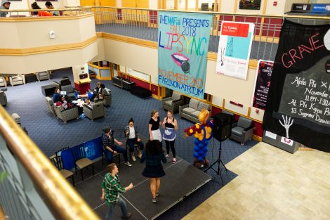 Students compete in the lip sync and air band contest.