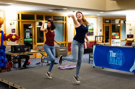 Students dance in the lip sync and air band contest.