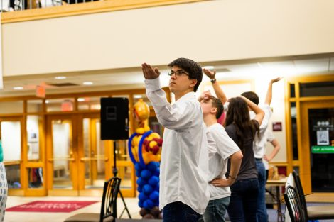Students compete in the lip sync and air band competition.