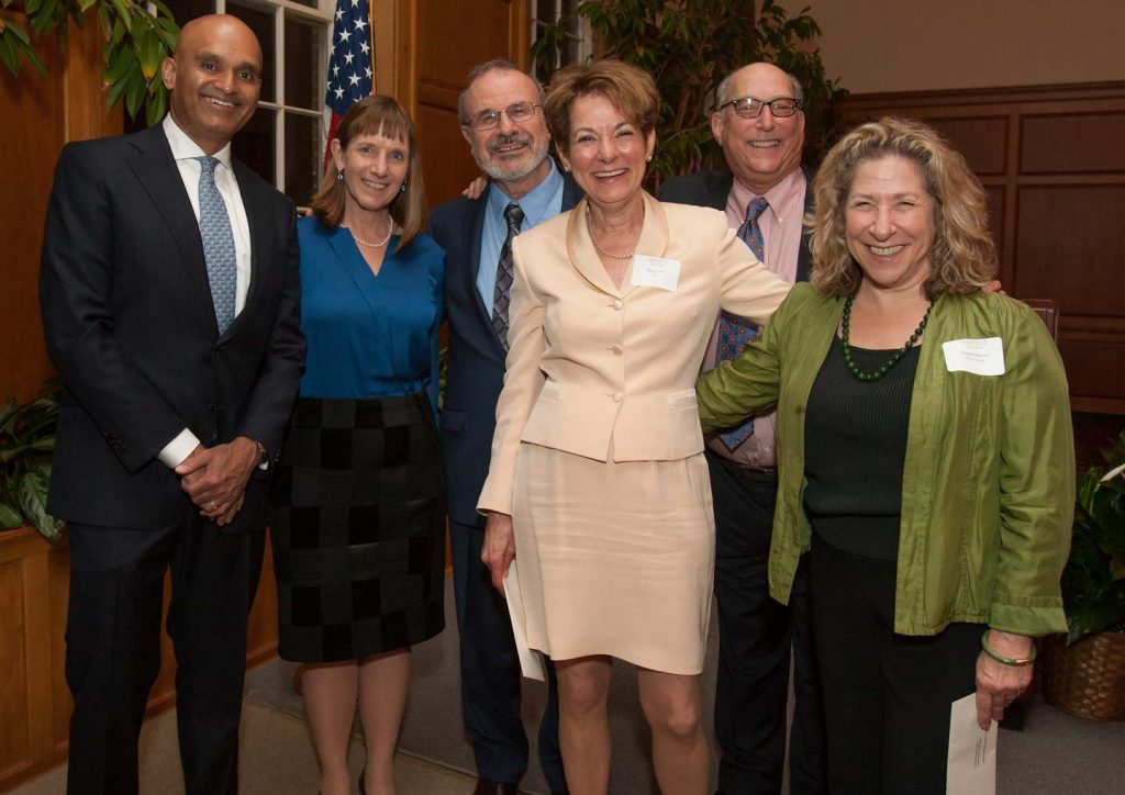 (L-R) Provost Abu Rizvi, President Alison Byerly, Prof. Ilan Peleg, Prof. Diane Cole Ahl, Prof. Bob Weiner, and Prof. Susan Basow at the annual faculty awards dinner