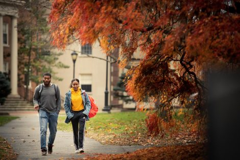 Two students walk on a campus walkway with autumn leaves hanging in the foreground.