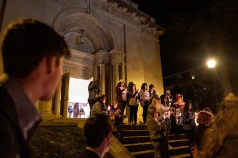 Lafayette students gather for a candlelight vigil outside Colton Chapel at the annual Take Back the Night.