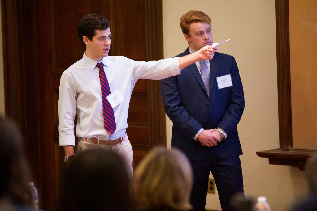 Students deliver their presentation at the Dyer Center's Real Estate Competition.