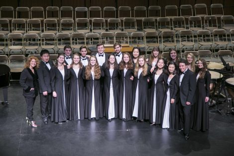 lafayette chamber singers pose on stage