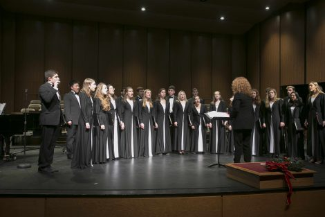 chamber singers performs on stage