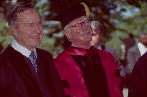 President George H.W. Bush and Lafayette President Arthur J. Rothkopf '55