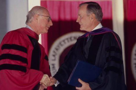 President George H.W. Bush receives an honorary degree from Lafayette College President Arthur J. Rothkopf '55