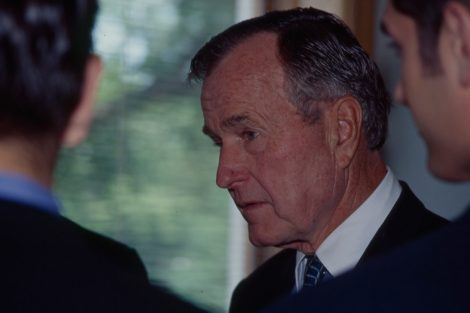 President George H.W. Bush during his visit to Lafayette College.