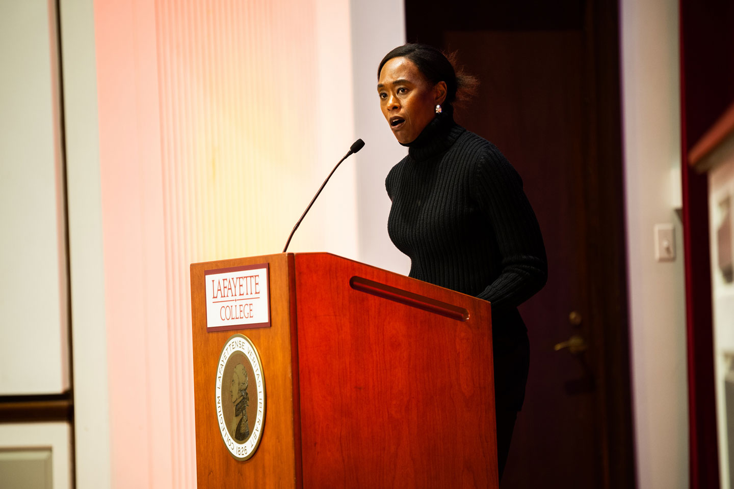 Margot Lee Shetterly gives a lecture in Colton Chapel as part of Hidden Figures Week at Lafayette College.