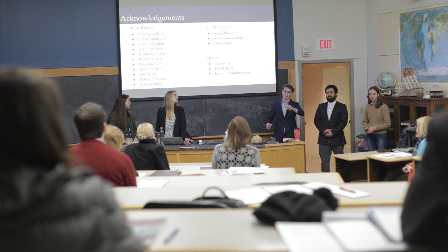 Students in Lafayette College's Technology Clinic class give their year-end presentation on college communications.