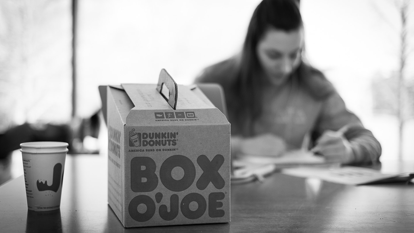 A student studies with a Box O'Joe.