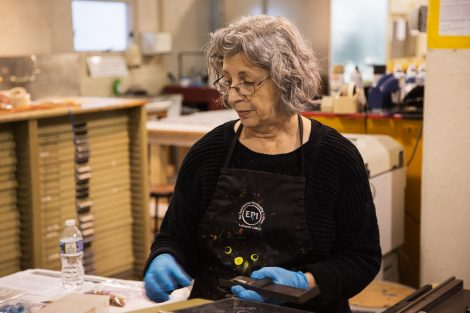 MaryAnn Miller works on art at Lafayette College's Experimental Printmaking Institute