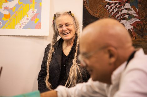 Poet Sharon Olds and printmaker Sam Messer work together Lafayette College's Experimental Printmaking Institute.