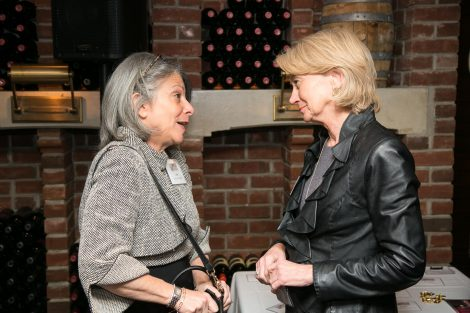 Leslie Muhlfelder and Janice Egan talk at the First Women of Lafayette brunch in New York on Dec. 1.