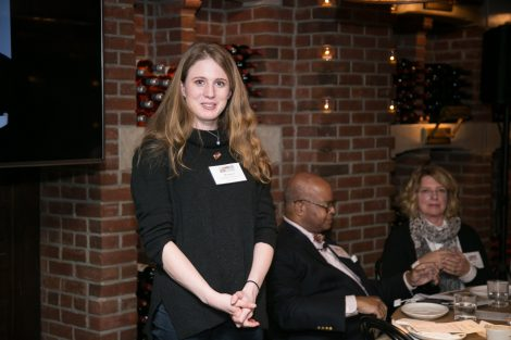 An alumna poses for a photo at the First Women of Lafayette brunch in New York on Dec. 1.