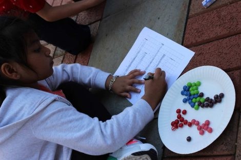 A Cheston Elementary School third-grader graphs the results of the math project using Skittles during the Center for Community Engagement program hosted by Lafayette College.