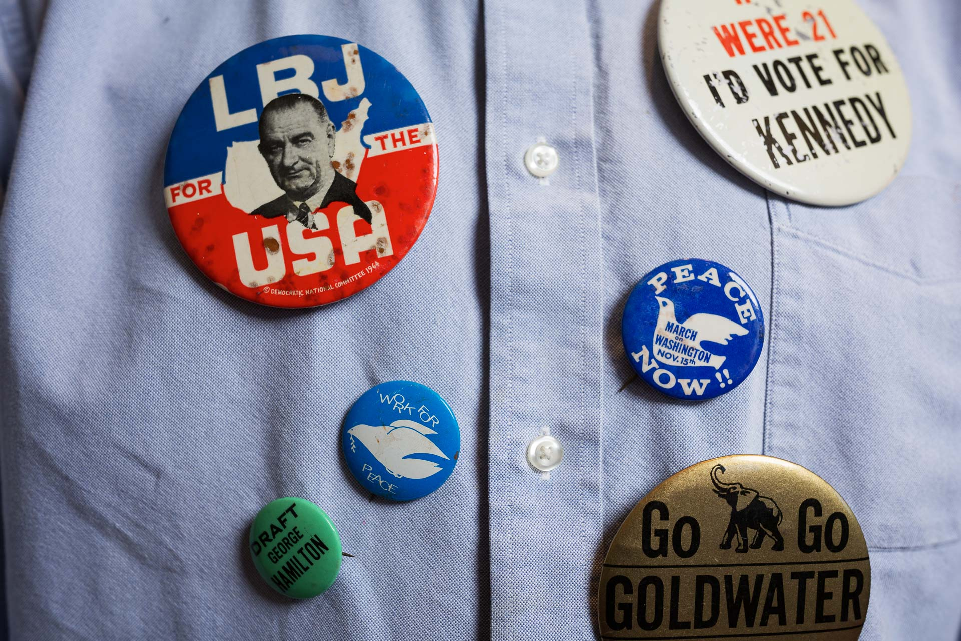 Peter Newman's political buttons