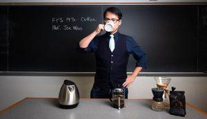 Joe Woo teaches a coffee FYS