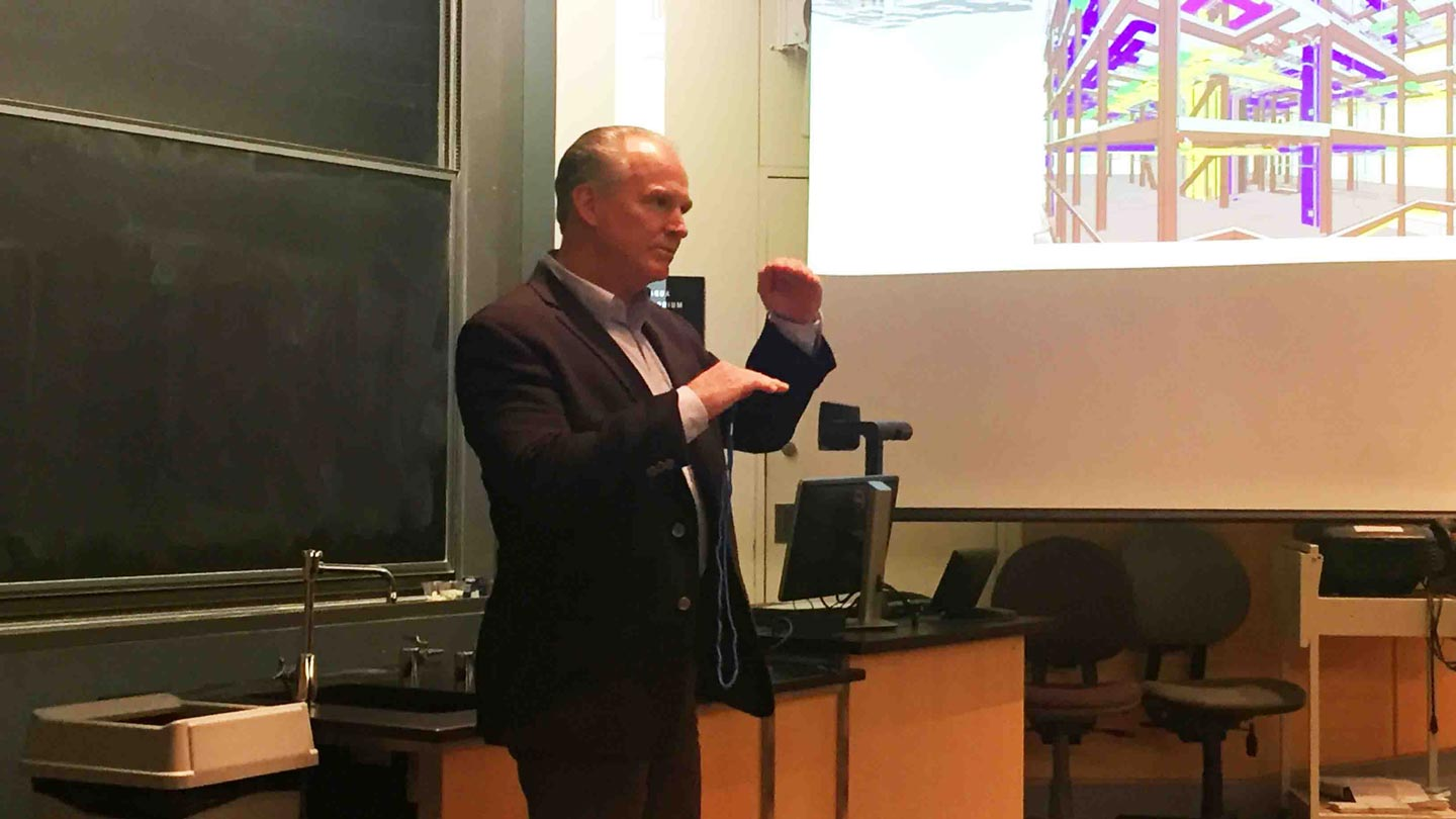 D. Kirk Harman '77, co-founder, president, and managing principal of The Harman Group, speaks to students during the Rockwell Integrated Sciences Center brown bag lunch series. The Harman Group is providing structural engineering services for the project.