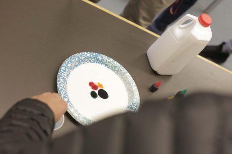 Lafayette students add drops of food coloring to the milk on the plate.