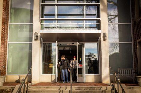 students exit acopian engineering center