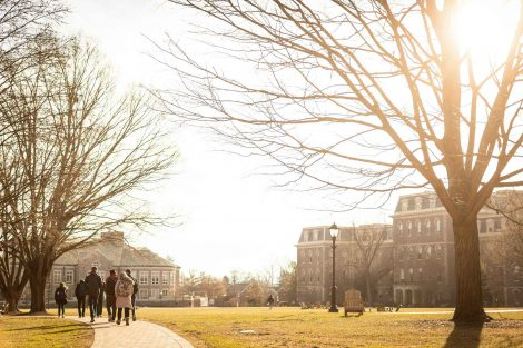 students walk on quad
