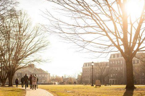 students walk on quad