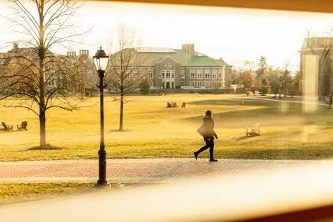 lafayette college quad with person walking