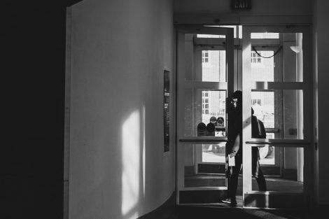 student enters hugel science center