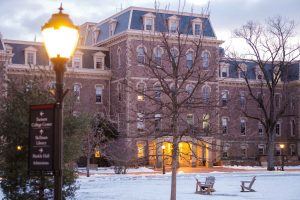 The snow-covered Quad and Pardee Hall