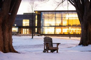 Skillman Library and the snow-covered Quad