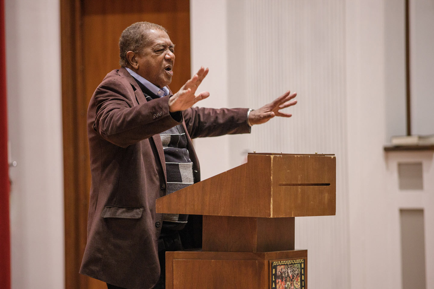 Bobby Seale, co-founder and national chairman of the Black Panther Party, addresses a crowd in Colton Chapel Feb. 12 as Lafayette's Black History Month keynote speaker.