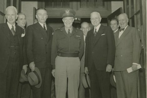 Dwight D. Eisenhower in a group photo on Founder's Day 1946