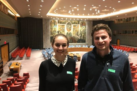 Evelyn Adams and Quinn Young externship at the UN