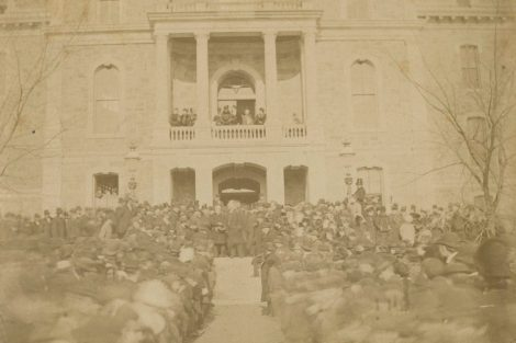 Rutherford B. Hayes attends the rededication of Pardee Hall in 1880 after it was destroyed by fire the previous year.