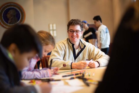 Lafayette student smiles as the students learn.