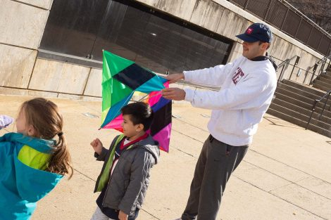 Lafayette student readies the kite.