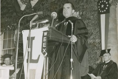 Richard Nixon delivers the 1956 commencement address