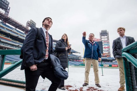 Students get a tour of Citizens Bank Park during their Philadelphia Phillies externship.